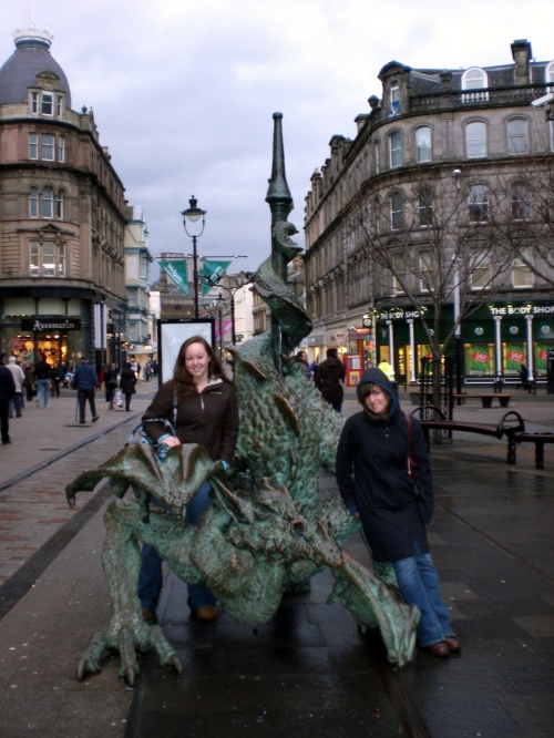 Robyn and I by the dragon in Dundee!
